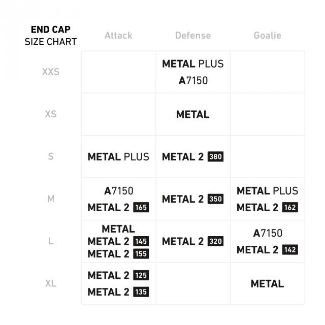 StringKing Lacrosse Accessories Shaft End Cap Size Chart