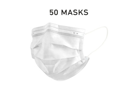 Disposable Filtered Single Use Face Mask White 50 Count