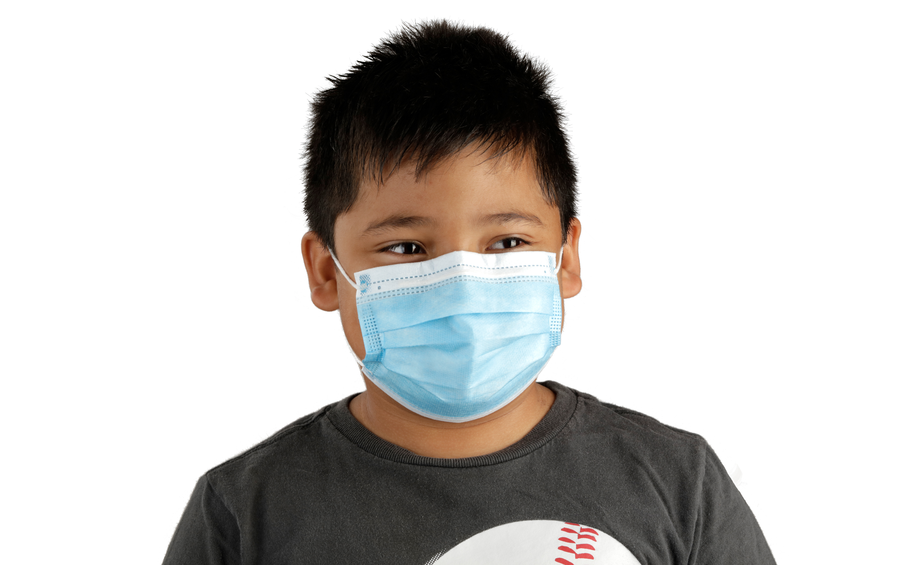 3-Layer Disposable Kids Youth Face Mask Light Blue Wearing Smiling